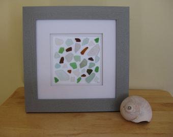 Sea Glass Art, Sea Glass Mosaic Collage, 10x10 Frame