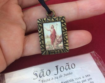 Saint John the baptist medallion pendant necklace dark gold tone