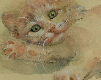 The gland-Playing kitten ,for her Cat painting  Cat art PRINT of watercolour painting  Cat PRINT art cat artwork cat decor wall Orange Cat