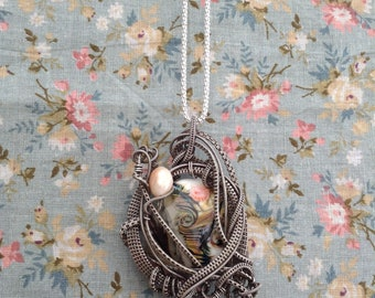By The Sea - Sterling Silver Wirework / Wireweave Pendant with pearl and lampwork bead