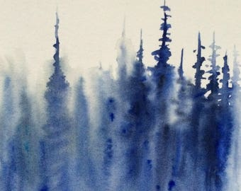 Forest painting, contemporary art, abstract forest, abstract landscape, blue forest, blue trees, pine trees, wet in wet, monochrome painting