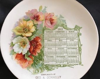 Antique 1911 Advertising Calendar Plate