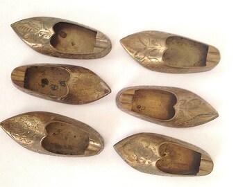 Set of 6 Vintage Brass Slipper Ashtrays Made in India