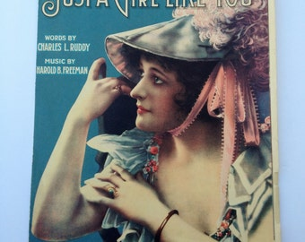 1919  Vintage Sheet Music Just A Girl Like You CoverSilent Film  Actress Vera Sisson Illustrated by S Lielke Jr Artwork