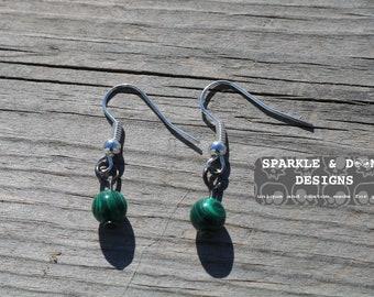 Malachite Round Earrings, pair gemstone handmade