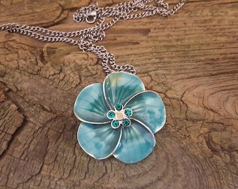 Beautiful Aqua or Teal Flower, Green Rhinestone Flower Pendant Necklace, Vintage Flower Necklace, Silver Chain and Floral Pendant Necklace
