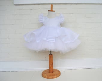Bright White Organdy Tutu Gown with Tulle and Crinoline Petticoat