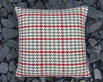 Red handwoven wool cushion