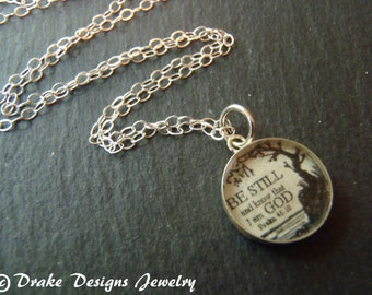 Bible Verse Jewelry Be Still and Know that I am God Sterling Silver Christian Necklace Psalm 46:10