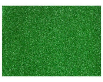 Green fine glitter fabric 21 x 21 cm sheet