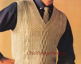 Men's Cabled Vest ... Vintage Sleeveless Vest ... PDF Knitting Pattern ... Smart, Useful ... Instant Download