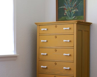 Antique mustard yellow dresser