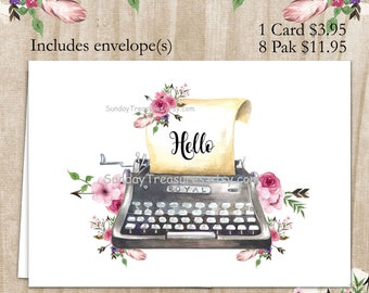 Vintage Typewriter Hello Cards / Buy 1 for 3.95 / or / Paks of 8 for 11.95 / Blank Inside / Shabby Pink Flowers  Cards Personalized (nc)