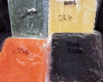 12.75lbs Green, Yellow, Orange, & Black Paraffin Wax.