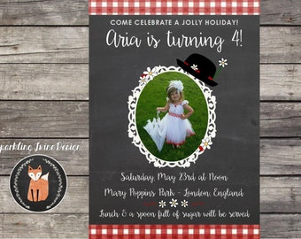 Printable 5x7 Mary Poppins Chalkboard - Spoon full of sugar & Daisy Birthday Invitation - Customizable