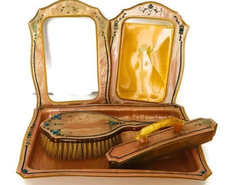 Vintage Celluloid Dresser Set, Peach Celluloid with Blue Inlay, 5 Piece Set, Tray, Nail Buffer, Hair Brush, Picture Frames, Vanity Set