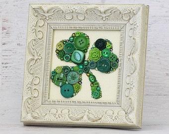 Made To Order Shamrock Button Art - Clover Wall Hanging - Shamrock Art - Irish Home Decor - Irish Shamrock - Green Button Clover