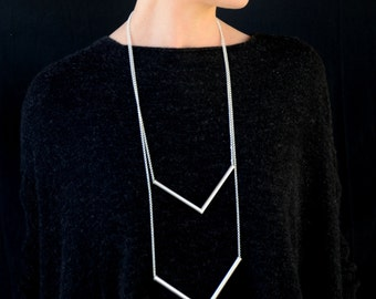 Chevron necklace,  geometric necklace, silver Tube Necklace, Triangle Tube Necklace, Minimalist Necklace.triangle Silver Statement Necklace