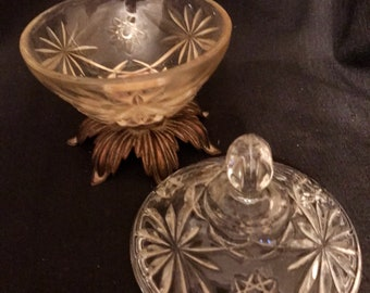 Vintage Candy Dish Glass and Brass Cut Glass Starburst Design SALE PRICE was 19.99 now 16.00
