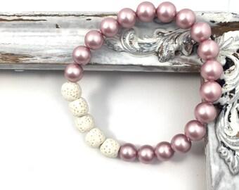 Rose Swarovski pearl essential oil diffuser bracelet