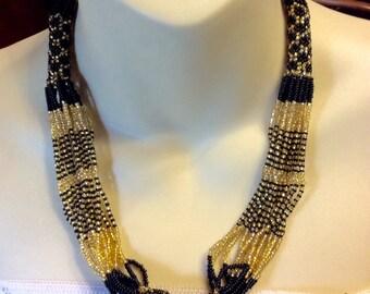 Vintage handmade micro beads black gold tiny beads bracelet necklace set.