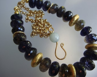 Iolite and Gold Vermeil Disks Necklace