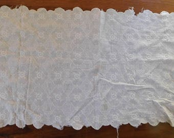 Vintage Cotton Table Runner, White on White, Scalloped Edges, 30 Inches X 11 Inches