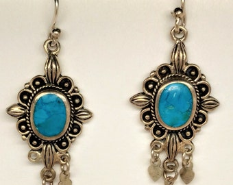 Lovely Vintage Sterling Silver Dangle Chandelier Earrings with Turquoise Stone, marked 925