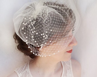 birdcage veil with pearls, tulle Russian veiling, ivory birdcage veil, bridal headpiece, wedding hair accessories, white bird cage veil