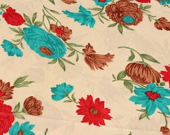 1 yard of Chiffon Fabric, Indian Polyester Fabric, Floral Print Chiffon Fabric, Cream Fabric, Shibori Fabric