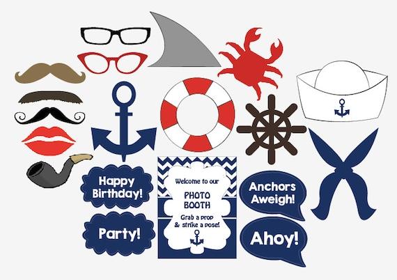 Nautical Photo Booth Props printable DIY sailor birthday party