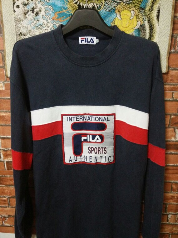 MEGA SALE 90's Fila Sports International Sweatshirt Vintage Big Logo Fila Italia Shirt International Fila Sports Authentic Size XL PQYH6X