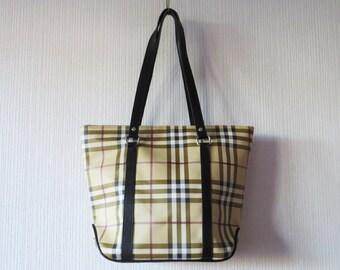 Beige Tartan Plaid Vegan Leather Tote Bag Checkered Faux Leather Handbag Shoulder Bag Large Purse Gift for her