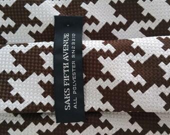 Saks Fifth Avenue Brown Houndstooth Necktie