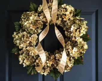 Beautiful Blended Hydrangea Wreath | Front Door Wreaths | Green and Cream Hydrangeas | Spring Wreath | Everyday Wreath | Housewarming Gift