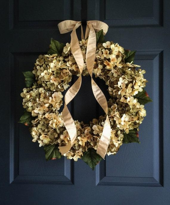 Beautiful Blended Hydrangea Wreath Front Door Wreaths