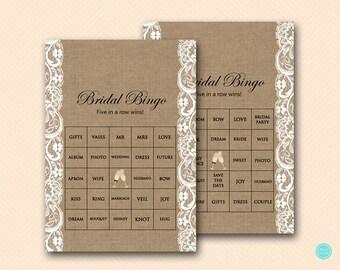 Prefilled Bridal Shower Bingo Cards, Bridal Words Bingo, Burlap Bridal Shower Games, Burlap and Lace Bridal Shower Games, BS16