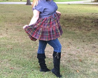 Tartan skirted tunic, refashioned, upcycled, repurposed, eco friendly clothing