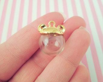 Four Gold Plated Bear Ear Glass Dome Terrarium Pendant sets, Pick your globe size J179