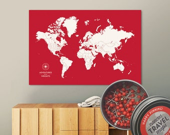 Push Pin Map (Siren) Push Pin World Map Pin Board World Travel Map on Canvas Push Pin Travel Map Personalized Wedding/Anniversary Gift