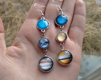 Solar system earrins, planet earrings, Galaxy earrings, nebula earrings, cosmic earrings, interstellar earrings