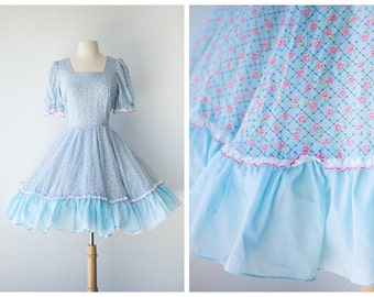 Baby Blue Floral Square Dancing Dress - Pastel Floral Dress - 1970's Vintage Square Dance Dress - Size Large