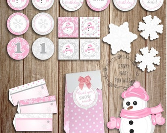 Winter Onederland Party Printable set, Pink Winter Onderland, First Birthday, Digital printable decoration, Snowflake, Instant download
