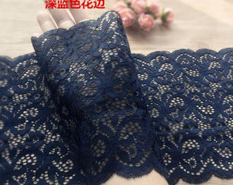 ON SALE, Navy blue lace trim, stretch lace trim, For Underwear-(SYJ)-for 2,2 Yards