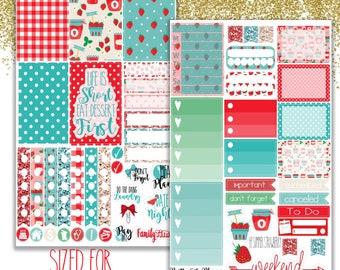 Strawberry Happy Planner Stickers - Planner stickers - Summer Strawberry Stickers -  Functional stickers - Strawberry Planner Stickers