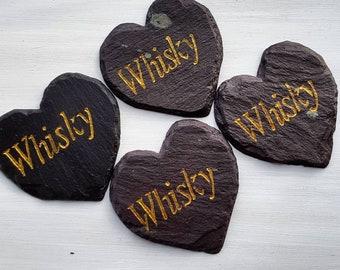 4x Whisky Slate Heart Coasters 10cmx10cm