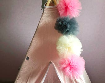Bright Garland - Garland of PomPoms with LED - tulle PomPoms - teepee decoration