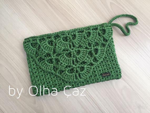 Clutch With Lace Green Clutch Lace Green Clutch Crochet Clutch