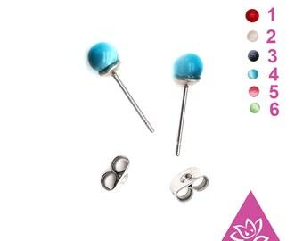 2pcs / 1pair earrings basque titanium ball 5mm minimalist cat's eye Stud point style hypoallergenic sensitive skin