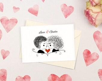 Romantic wedding invitation with kiss. Simple and witty. Custom wedding invitations.